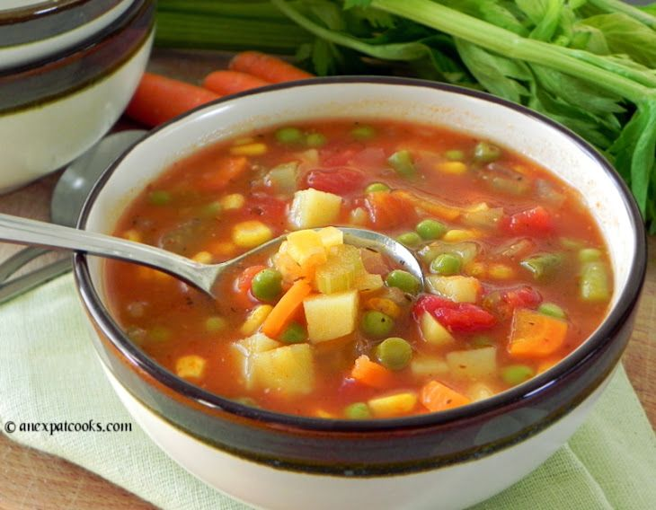 Homemade Vegetable Soup Recipe Soups with olive oil, onions, carrots, celery, garlic, low sodium chicken broth, diced tomatoes, potatoes, bay leaves, italian seasoning, salt and ground black pepper, fresh green beans, fresh corn, fresh peas
