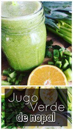 Jugo verde de nopal Delicioso jugo verde lleno de fibra y nutrientes, hecho con nopal, piña, naranja, apio y perejil.