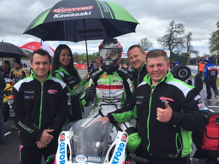 Our grid girls Katie R and Demi worked today 2nd May 2016 with Quattro Plant Kawasaki at Oulton Park round of British Superbikes