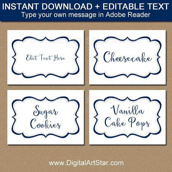 Printable Buffet Cards Candy Buffet Labels for Wedding Editable Labels Damask Food Label Candy Buffet Tags Black and White Food Labels