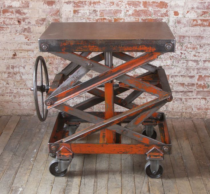Vintage Industrial Adjustable Steel Scissor Lift Cart