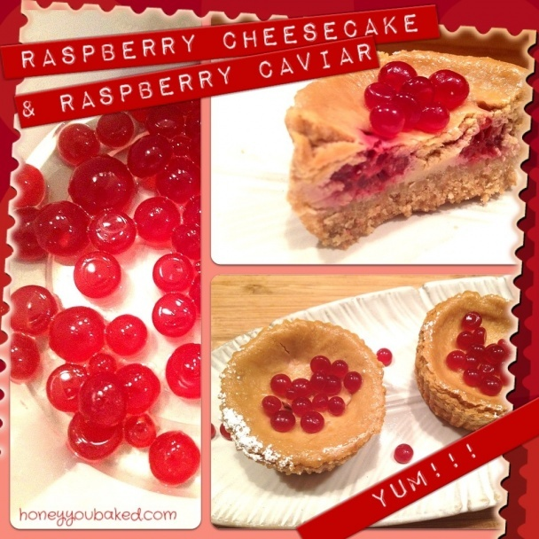 Raspberry Baked Cheesecake with Raspberry Caviar