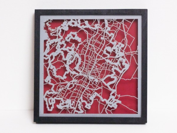 Laser Cut Map from Collected Edition Maps, Austin Map
