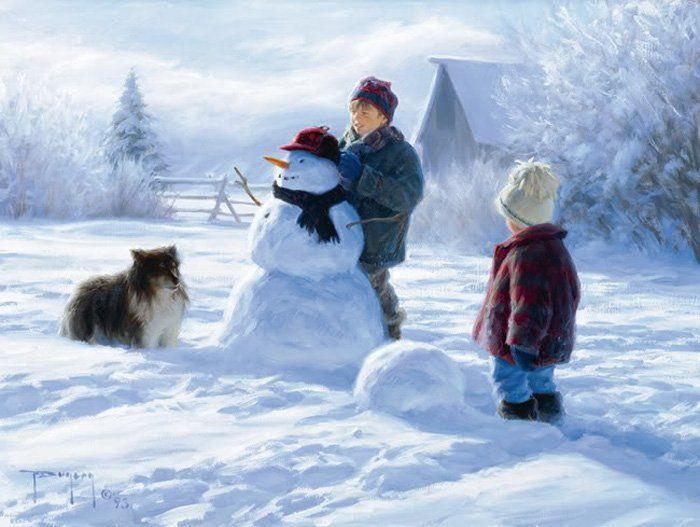 На крыльях вдохновения: Зима. Robert Duncan. Картинки для декупажа. Часть 2. Зимние игры в сельской местности.
