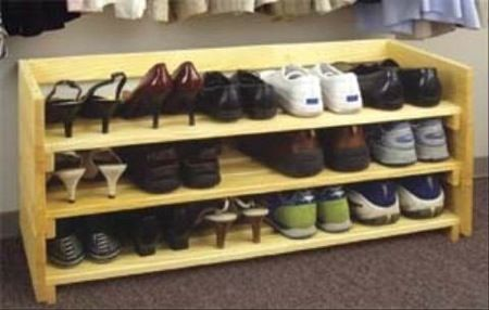 Free This simple storage rack can handle everything from winter boots to summer sandals Store shoes up off the floor in clean Woodworking plan