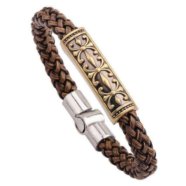 Vintage Brown Braided Genuine Leather Bracelet
