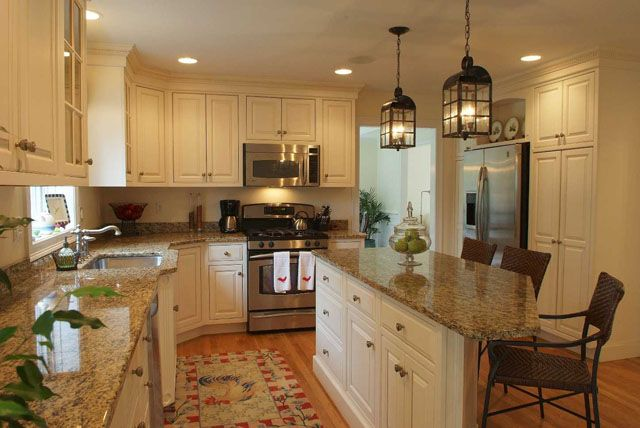 Tan granite countertops something like this but with for Different kitchen design ideas