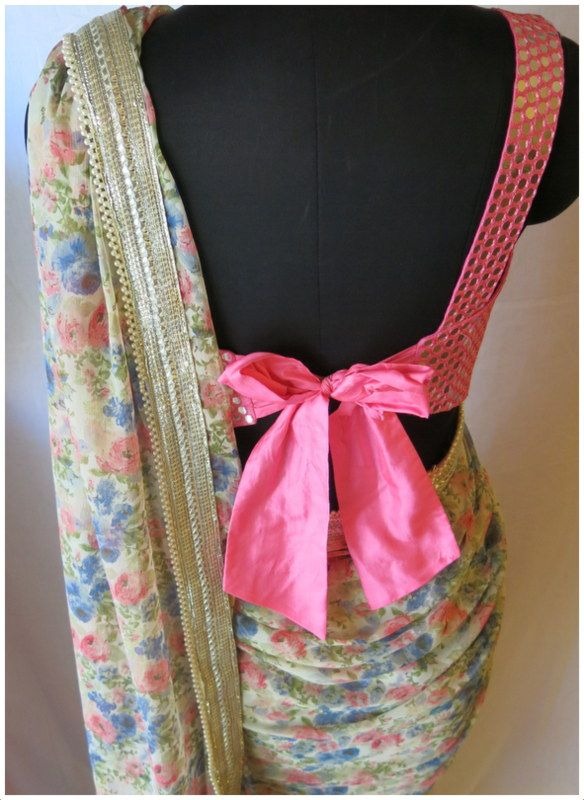 mirrorwork blouse with bow*
