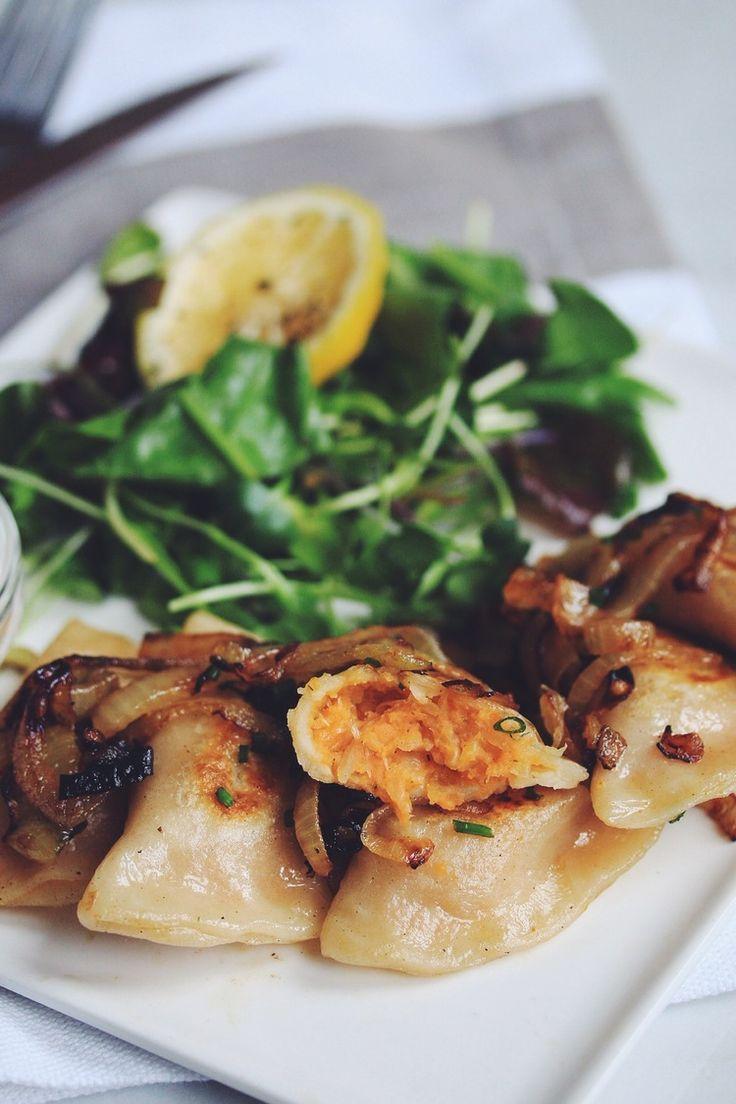vegan sweet potato & sauerkraut pierogies