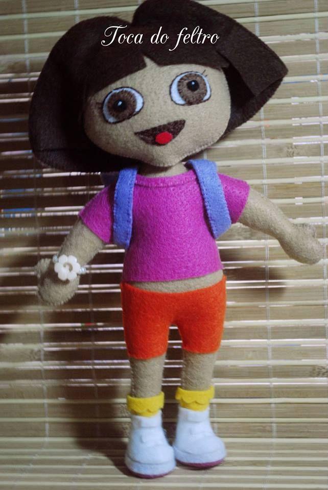 boneca de feltro, Dora aventureira de feltro, feltro, felt
