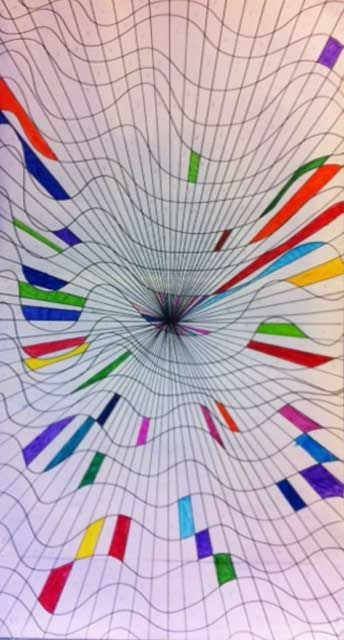 artisan des arts: Giant art mural - grades 2-6. Teacher laid out op-art mural and students colored in sections.