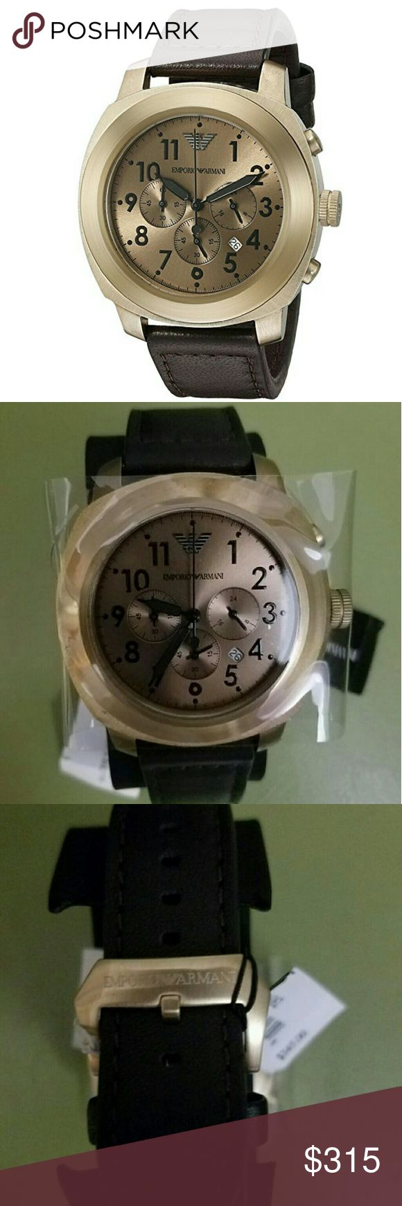 NWT Emporio Armani Sportivo Beige watch NWT Emporio Armani Beige Dial Leather Strap Chronograph Men's Watch  Firm price  $315.00 . AUTHENTIC WATCH  . AUTHENTIC BOX  . AUTHENTIC MANUAL   SHIPPING  PLEASE ALLOW FEW BUSINESS DAYS FOR ME TO SHIPPED IT OFF.I HAVE TO GET IT FROM MY WAREHOUSE    THANK YOU FOR YOUR UNDERSTANDING. emporio Armani  Accessories Watches