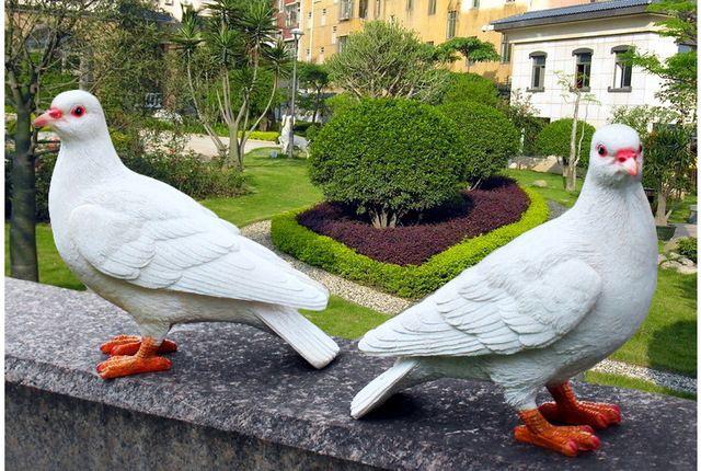 Смола белые голуби Статуя главная сад Фигурка Модель home decor украшение творческие подарки голубь моделирования ремесла
