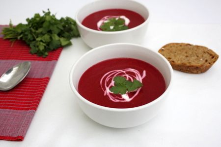 Thai Coconut Beetroot Soup @ Recipes From A Pantry.  This is suitable for vegans.