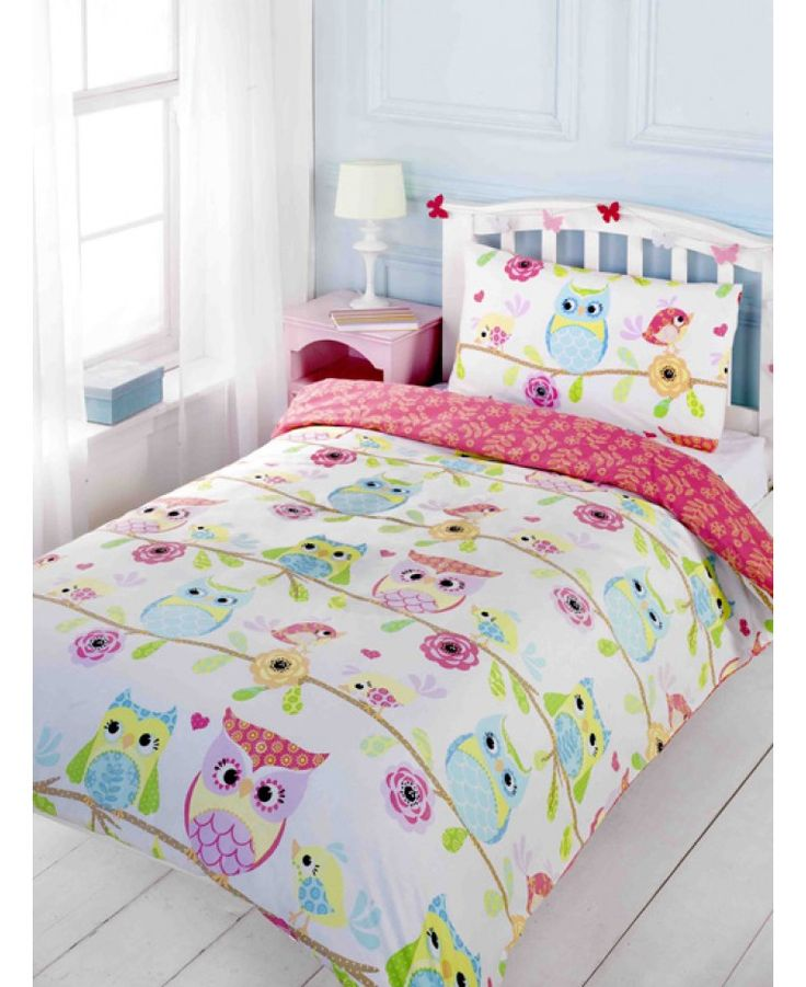 This Owl and Friends Double Duvet Cover and Pillowcase Set is perfect for little girls. The pretty design features a collection of cute patchwork themed owls and birds perching of floral branches.