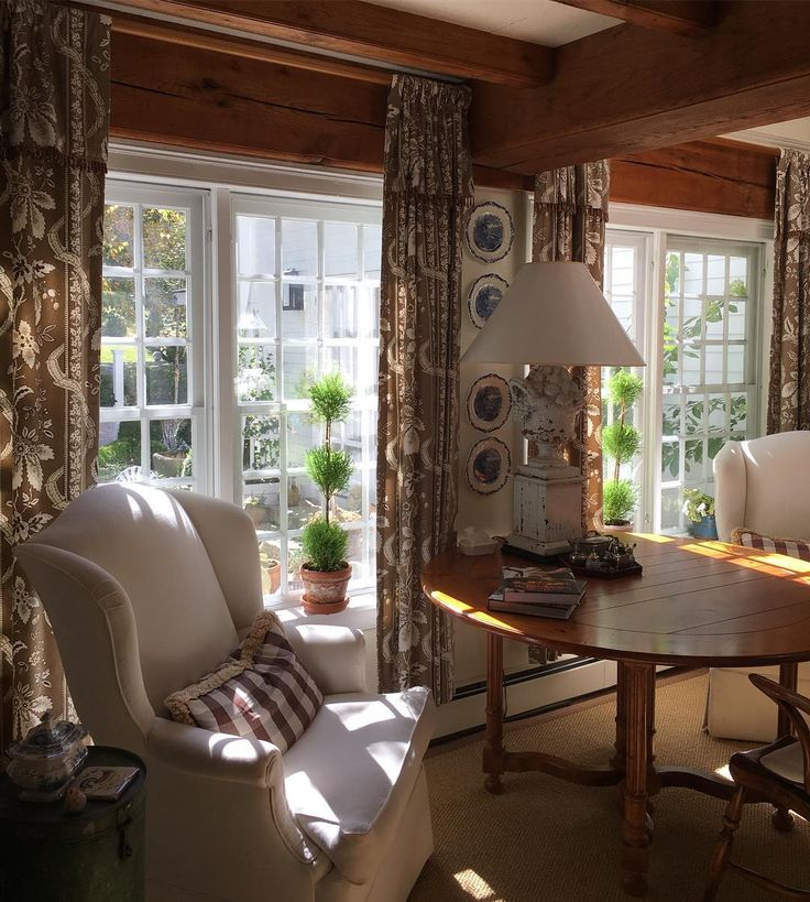 Brown & white fabrics in a New England home