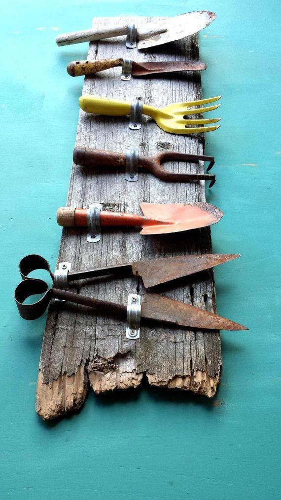 Rustic Garden Tools On Barnwood Bright Primitive Rusty Outdoor Spring Wall Decor Gardens