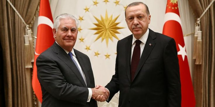 Tillerson meets Turkeys Erdogan amid soaring tensions between the 2 NATO allies on opposite sides of Syria fight