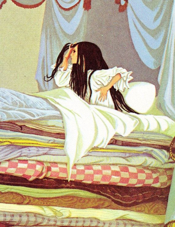 The Princess and the Pea / The White Cat - Vintage Illustration Storybook Print - Deans A Book of Fairy Tales - Paper Ephemera. $6.00, via Etsy.