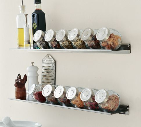 Kitchen organization: Kitchens Shelves, Galleries Ledge, Stainless Steel Kitchens, Kitchens Accessories, Spices Racks, Wall Shelves, Spices Jars, Kitchen Accessories, Pottery Barns