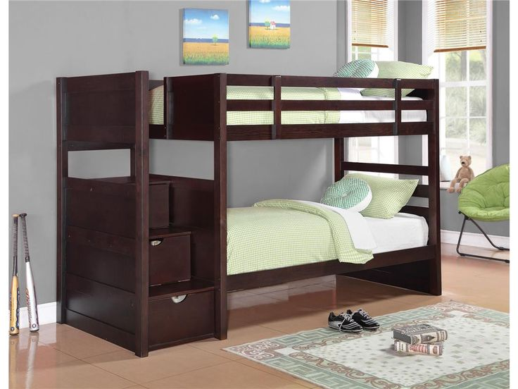 Elliott Twin Bunk Bed in Cappuccino Finish