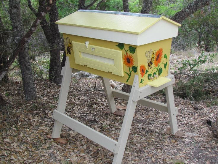 Painted Top Bar Bee Hive!
