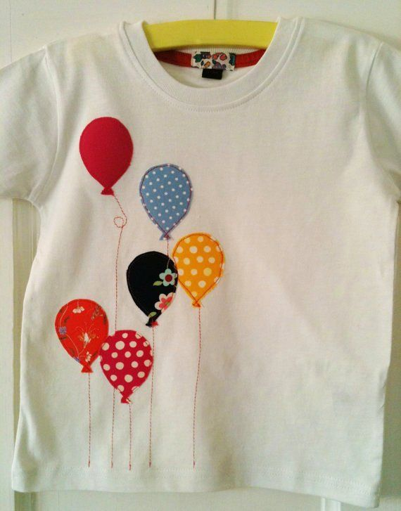 Baby girl Balloon appliqued T-shirt toddler sizes in bright pinks and patterns - LoveItSoMuch.com