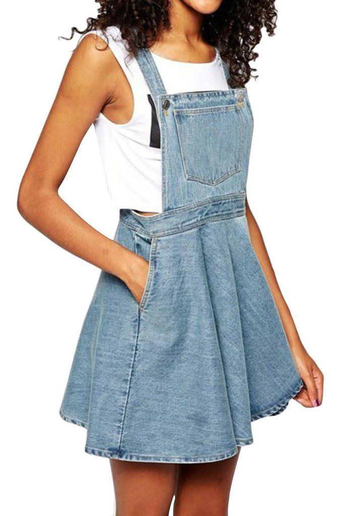 Denim Suspender Skater Mini Dress - Blue