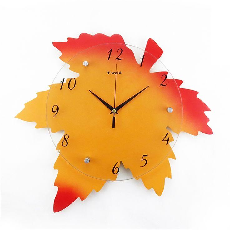 時計 壁掛け時計 静音時計 紅葉型 子供屋 田舎風
