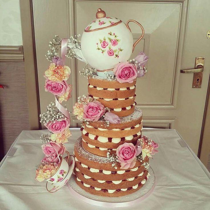 Wow teapot cake, naked cake, rose's wedding