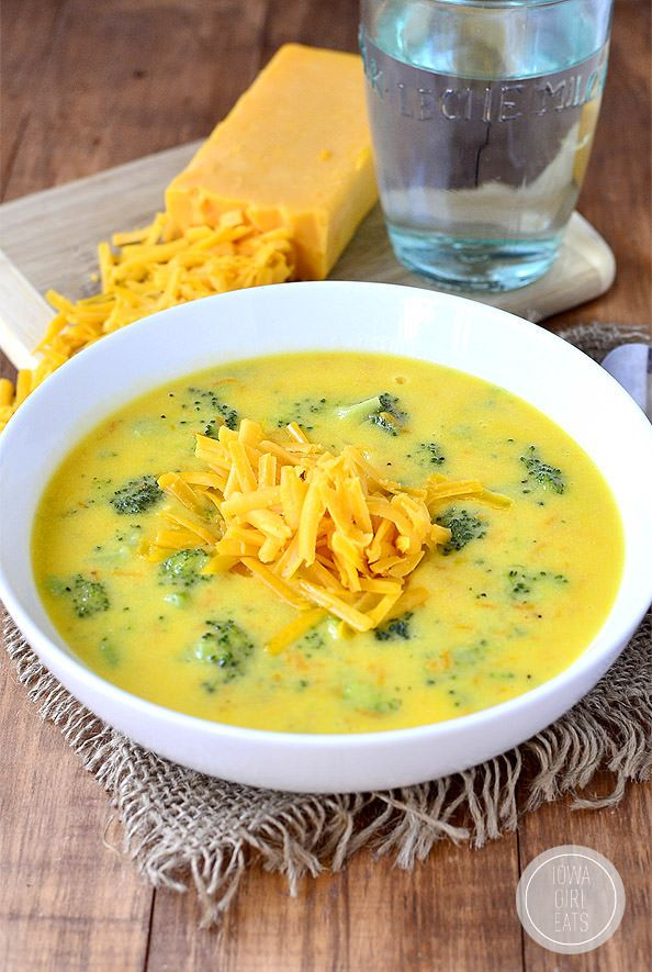Perfect Broccoli Cheese Soup is perfectly thick, creamy, and cheesy. The ultimate comfort food! #glutenfree | iowagirleats.com