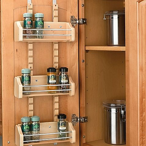 Made from maple hardwood, this Door Mounted Spice Rack from Rev-A-Shelf allows you to adjust 3 racks to suit your needs. Each shelf sports a clear finish, and holds spice bottles up to 2.25 in diameter.
