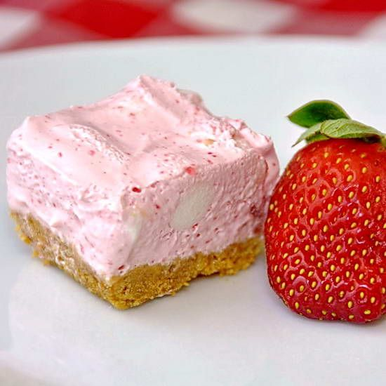 Strawberry Chiffon Squares - these silky smooth treats taste like ...