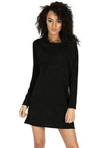 Oops Outlet Femmes Col Bénitier Mini Robe femmes Fin Tricoté Pull Ample Tunique Manches Longues surdimensionné Haut Grande Taille UK 8-22 –…