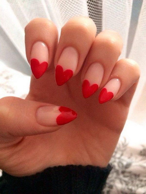 Heart Tips Stiletto Nail Design.