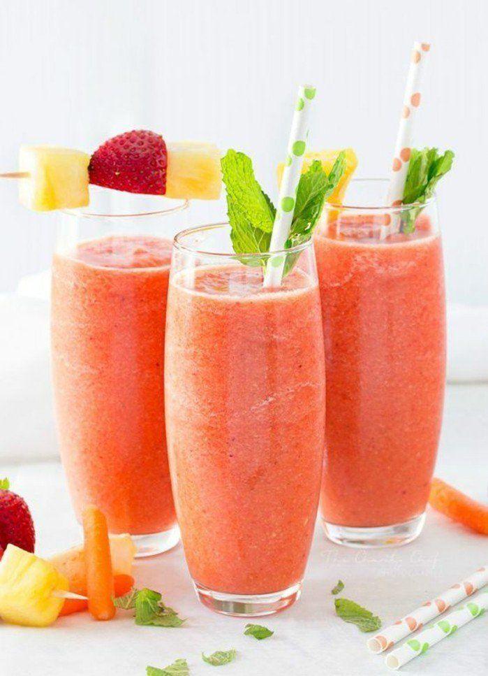 un smoothie carotte au goût tropical, un bon mix de fruits