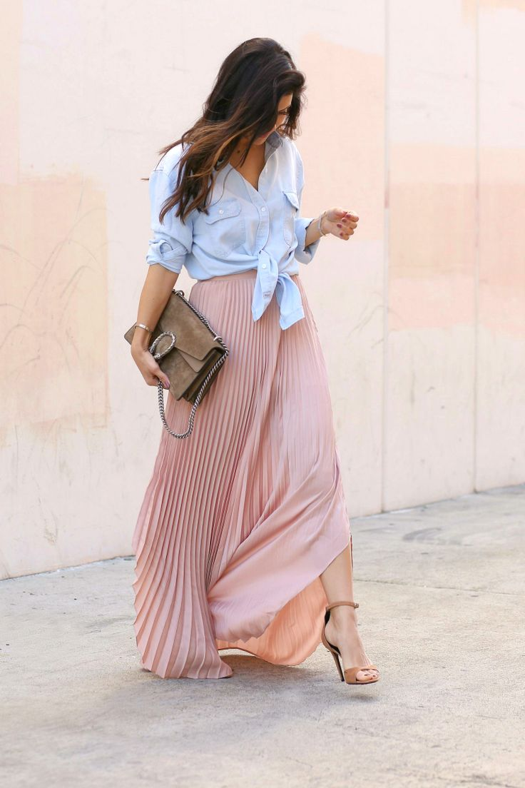 Maxi Skirt + Chambray Button Down - Andee Layne