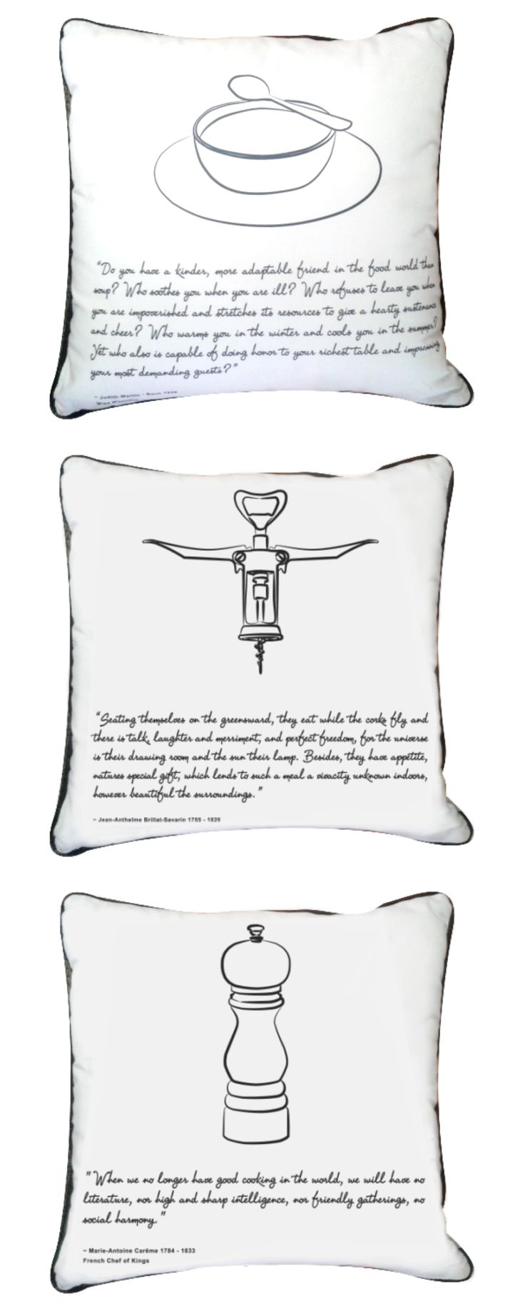 Feast Scatter Cushions - The art of eating and the ritual of a feast - perfectly captured in our range of Feast Scatter Cushions. #cushions #white #grey #quotes