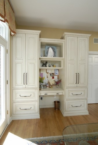 Kitchen Message Center Between Floor To Ceiling Cabinets
