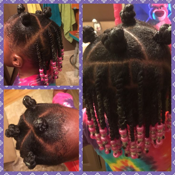 Bantu knots up front, two strand twists in back. Natural hair -little girl hair - protective style - beads.