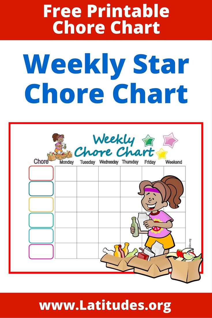 Weekly Star Chore Chart for Kids