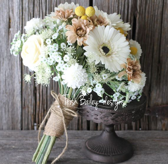 SPRING - mix white gerberas into a textured bouquet for a rustic look. Finish with hessian for that added detail