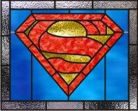 Superman logo superman logo stained glass window