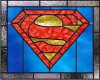 Superman logo stained glass window