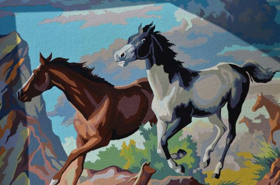 Vintage Running Horses 18x24 Framed Paint by Number by Cyndirellas, $85.00