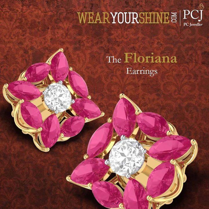 """ With """"The Floriana Earrings"""" every day is a joyous splendour. Shop at WearYourshine  #WearYourShine #PCJeweller #Earrings #Love #Diamonds #Jewellery #Fashion #Love #Trends #Gold #Wedding #Gemstones #Antique"""