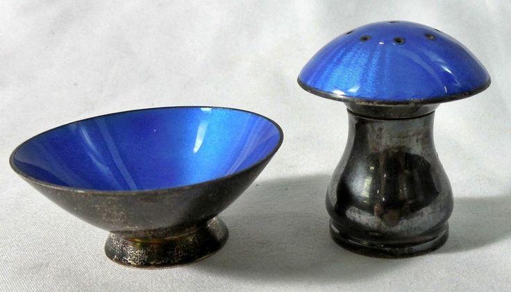 Ela Denmark Sterling Silver Blue Enamel Salt Cellar & Pepper Shaker Set - 925