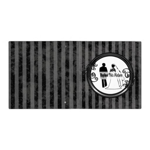 http://www.zazzle.com/black_grey_dark_vintage_photo_frame_3_ring_binders-127743938415640930?rf=238523064604734277 Black Grey Dark Vintage Photo Frame 3 Ring Binders - This binder has a black and grey striped, grunge background which looks faded and old. Place your name inside the shiny black frame with leaves and swirly vines growing from it.