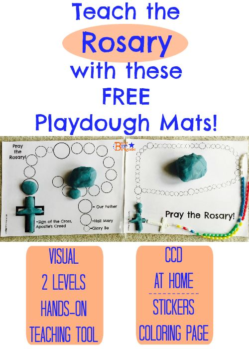 FREE Playdough Mats to Teach Kids How to Pray the Rosary! Keep little hands busy while they learn about and practice prayers of the rosary. 2 levels-intro & advanced. Great for CCD, Religious Educaiton at home! Also use crayons, markers, stickers, or paint!