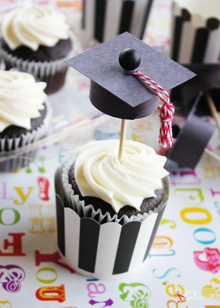 Adorable DIY graduation cap cupcake toppers turn store-bought cupcakes into the perfect party treat! #givebakery   -  #DIYGraduationCards #DIYGraduati...